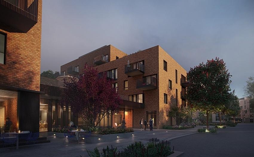 Første del av Diakonhjemmet hage er byggingen av Steinerud Omsorg+. 124 omsorgsleiligheter står ferdig høsten 2020. Illustrasjon: Lund & Slaatto