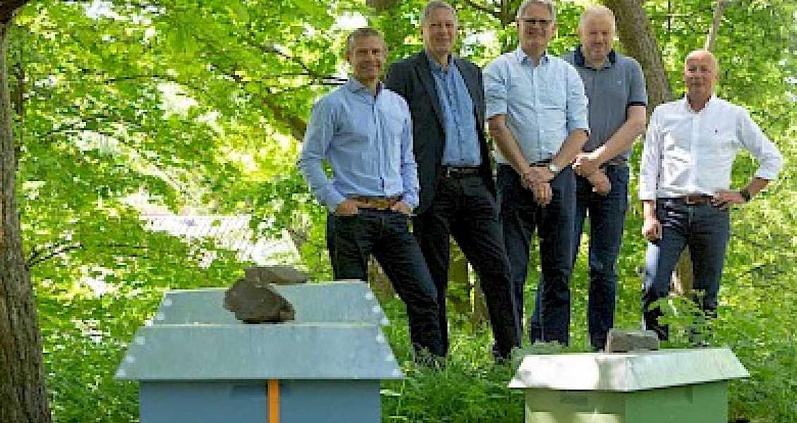 Diakonhjemmet Eiendom - fra venstre: prosjektleder Jon Solsrud, økonomi- og eiendomsdirektør Robert Hansson, eiendomssjef Bjørn Knutsen, forvaltningssjef Erling Nordstrand, og prosjektleder Per Reitan.